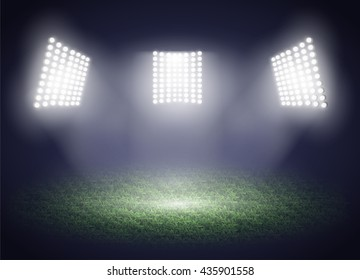 Stadium lights. Three spotlights on a football field. Vector illustration EPS10