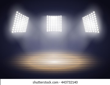 Stadium lights. Three spotlights on a Basketball arena. Vector illustration EPS10