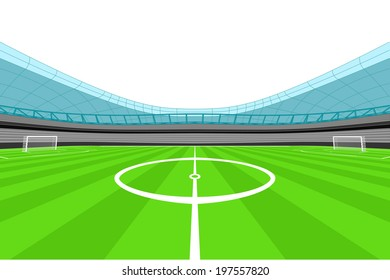 stadium midfield view with clear white sky vector illustration