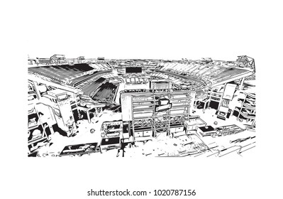Stadium in Nashville, Tennessee, USA. Hand drawn sketch illustration in vector.