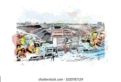 Stadium in Nashville, Tennessee,USA. Watercolor splash with hand drawn sketch illustration in vector.