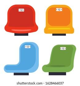 Stadium seats vector cartoon set isolated on a white background.