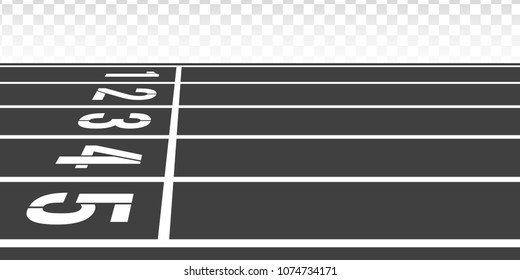 Stadium track with lane and numbers. Start position for runners. Running track in perspective side view. Place for for athletic competition.
