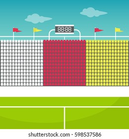 Stadium tribune with flags and scoreboard / flat editable vector illustration, clip art