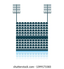 Stadium Tribune With Seats And Light Mast Icon. Shadow Reflection Design. Vector Illustration.