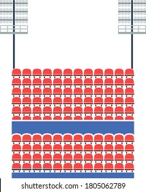 Stadium Tribune With Seats And Light Mast Icon. Flat Color Design. Vector Illustration.