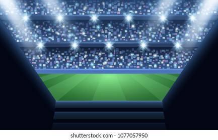 Stadium with tribunes and lights. Soccer  field and spotlights. Football arena.