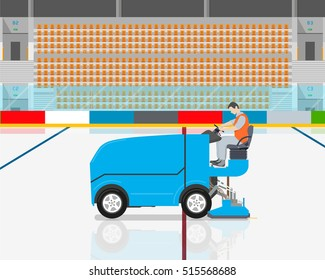 Stadium worker cleans rink on blue modern car cleaning ice. Vector illustration
