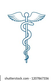 Staff of Asclepius or Caduceus with wings - Medical or Healthcare symbol line art icon isolated on white background. Vector illustration
