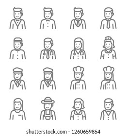 Staff Avatar Vector Line Icon Set. Contains such Icons as Chef, Doctor, Nurse, Business man, Guard and more. Expanded Stroke