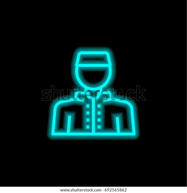 Staff blue glowing neon ui ux icon. Glowing sign logo vector