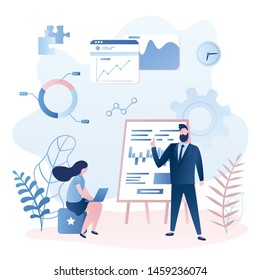 Staff education or business training concept. Financial course in modern office. Businessman teacher and female clerk student. Business people in trendy style. Vector illustration