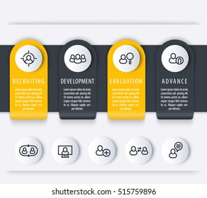 Staff, HR, employee development timeline template, steps, infographics elements with line icons for business report, vector illustration