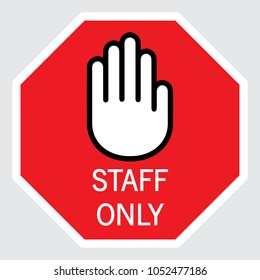 Staff only icon, vector illustration, table