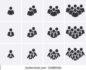 Staff people Icons set. Customer group pictogram. Management team Icon. Social network Users. Vector
