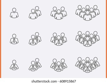 Staff people Icons set. Customer group pictogram. Management team Thin Icon. Social network Users. Vector