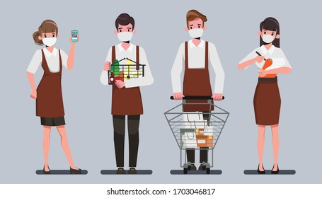 Die Mitarbeiter tragen einen Gesichtsmaske-Charakter. Kundenservice im Warenhaus Supermarkt. Shopping online und nehmen Sie während des Ausbruchs des Coronavirus weg.