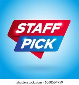 STAFF PICK arrow tag sign.