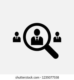Staff recruitment icon. Head hunter, Human resources department symbol. Flat design. Stock - Vector illustration