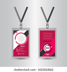 staff red user id card realistic set with male and female photo templates isolated illustration