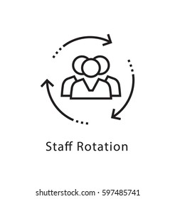 Staff Rotation Vector Line Icon