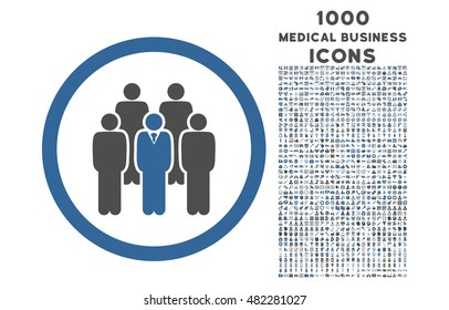 Staff rounded vector bicolor icon with 1000 medical business icons. Set style is flat pictograms, cobalt and gray colors, white background.