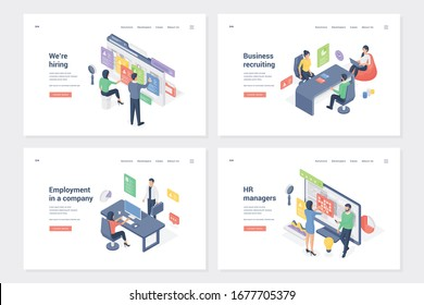 Staff search and placement isometric landing page templates set. Hiring, business recruiting, employment in company, headhunting. HR department workers and applicants cartoon characters