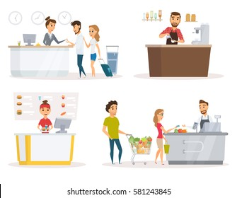 Staff set. Cashier, checkout counter and buyer pays purchase in supermarket. Fast food restaurant worker at cash register. Receptionist, guest at hotel reception desk. Barista in apron in coffee shop