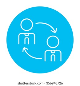 Staff turnover line icon for web, mobile and infographics. Vector white icon on the light blue circle isolated on white background.