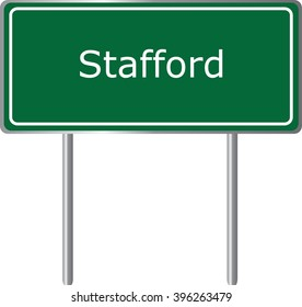 Stafford , Connecticut , road sign green vector illustration, road table, USA city
