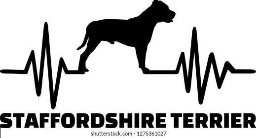 Staffordshire Bull Terrier heartbeat with silhouette