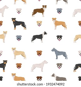 Staffordshire bull terrier seamless pattern. Staffy characters set.  Vector illustration