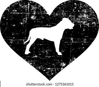 Staffordshire Bull Terrier silhouette in black heart