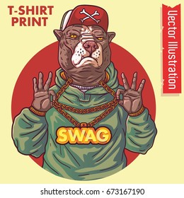 Staffordshire terrier rap gangster. Swag pitbull holds gold chain in hands. Dog hipster. Pitbull rapper. Element of banner design, billboards, advertisements, poster, album covers. Vector illustration