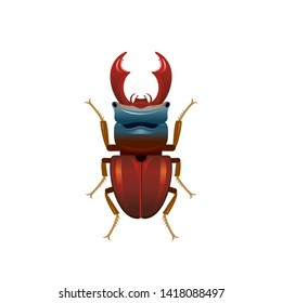 Stag beetle icon. Deer bug insect in 3d realistic style with beautiful wings. Wild animal sign for logo design, poster, t-shirt print, banner. Vector illustration isolated on white background