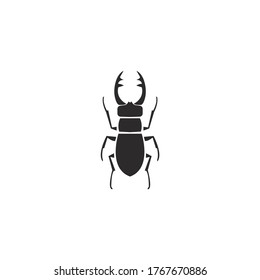 Stag beetle silhouette icon vector on a white background