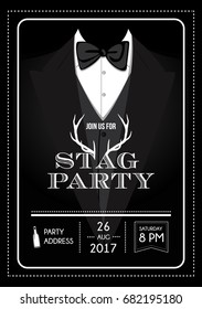 Stag party invitation calligraphy card, lettering vector element. Hand written bachelor party card decoration with black background.