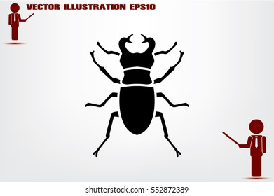 stag-beetle icon vector EPS 10, abstract sign flat design,  illustration modern isolated badge for website or app - stock info graphics