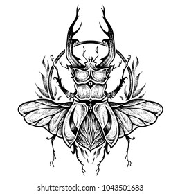 Stag-beetle tattoo. psychedelic, zentangle style. vector illustration