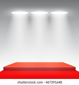 Stage for awards ceremony. Red podium. Spotlight. Vector illustration.