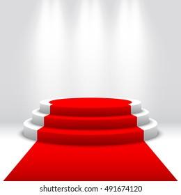 Stage for awards ceremony. White podium with red carpet. Pedestal. Round scene. Spotlight. Vector illustration.