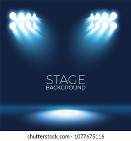 Stage background with spotlight, scenario vector illustration