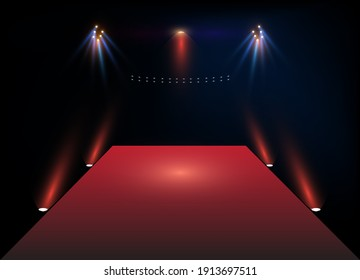 Stage before the show. Vector illustration.