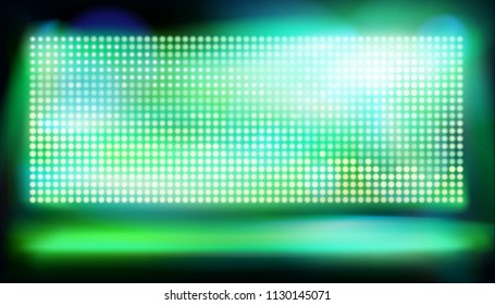 Stage with big led projection screen. Vector illustration.