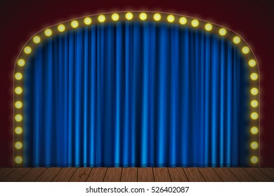 Stage with blue curtain