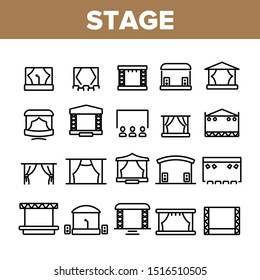 Stage Construction Collection Icons Set Vector Thin Line. Cinema Screen, Podium, Performance Theater Scene, Aluminium Truss Different Stage Concept Linear Pictograms. Monochrome Contour Illustrations