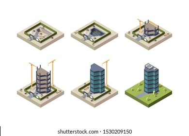 Stage construction isometric. High modern building skyscraper architecture vector techniques pictures
