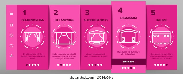 Stage Construction Onboarding Mobile App Page Screen Vector Thin Line. Cinema Screen, Podium, Performance Theater Scene, Aluminium Truss Different Stage Concept Linear Pictograms. Illustrations