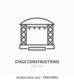 Stage constructions flat line icon. Scene, event equipment rental sign. Thin linear logo for concert, music festival.
