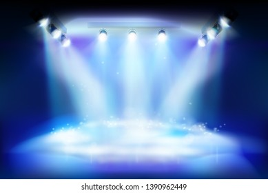 Stage during an artistic show. Place for the exhibition illuminated by floodlights. Vector illustration.
